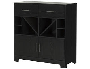 Black Bar With Bottle Storage, , large