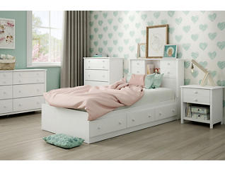Little Smileys Twin White Bed, , large