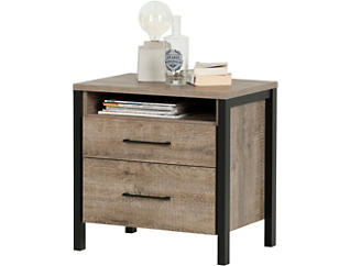 Munich Oak and Black Nightstand, , large