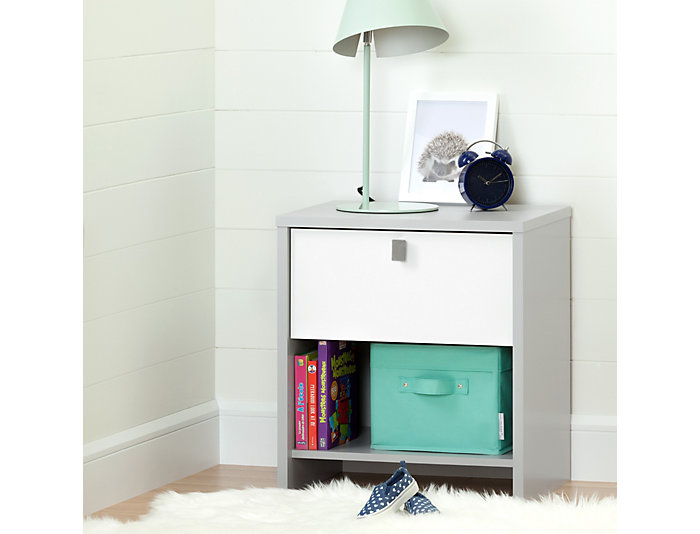 Cookie Gray & White Nightstand, , large