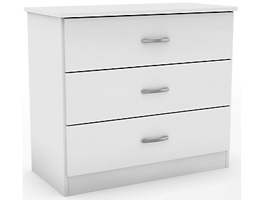 Libra White 3-Drawer Chest, , large
