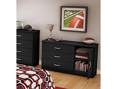 Libra Black 3 Drawer Dresser, Black, large
