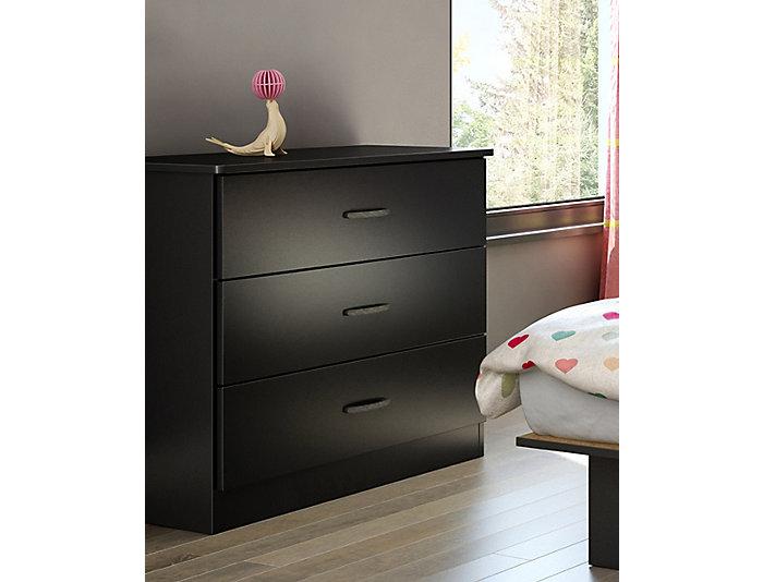 Libra Black 3-Drawer Chest, , large