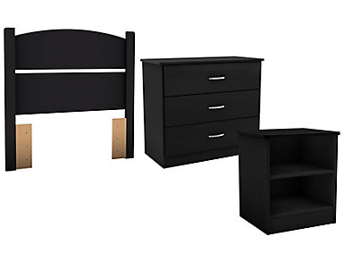 Libra Black Twin 3PC Bedroom, , large