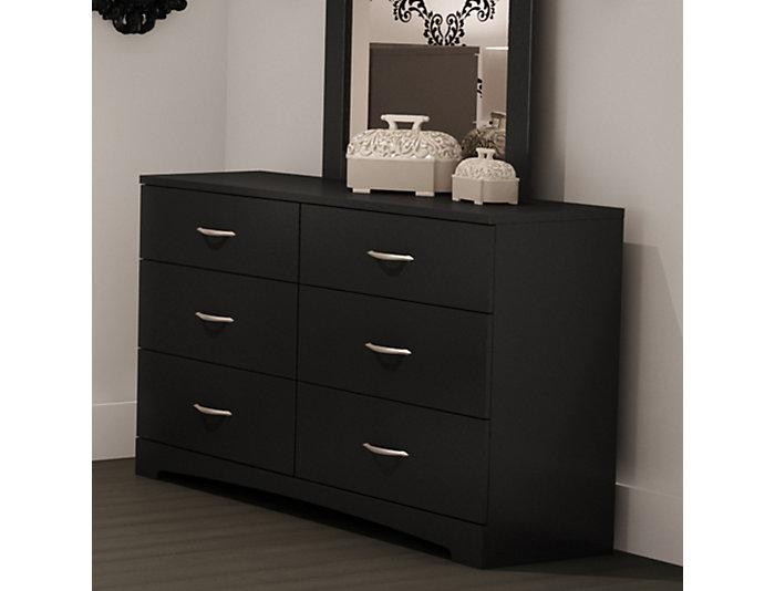 Step 1 Black 6-Drawer Dresser, , large