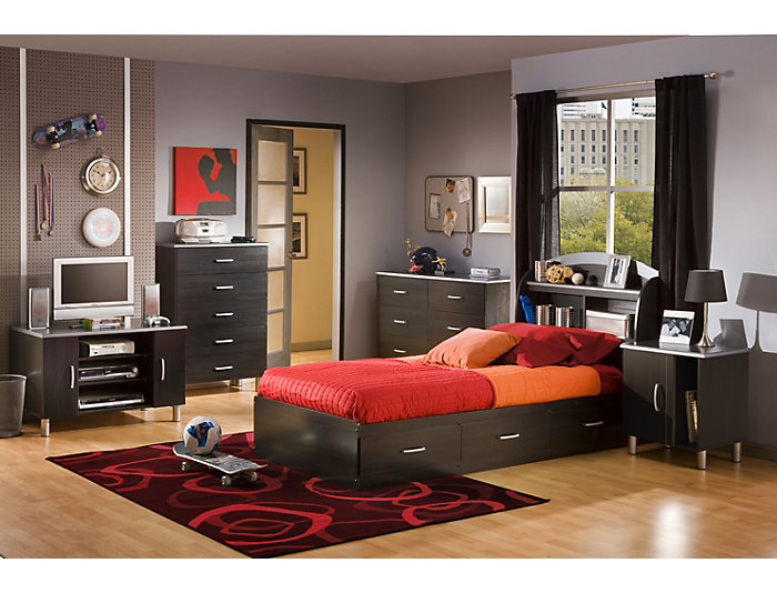 Cosmos Black Twin Mates Bed, , large