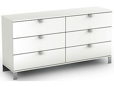 Spark White 6-Drawer Dresser, , large