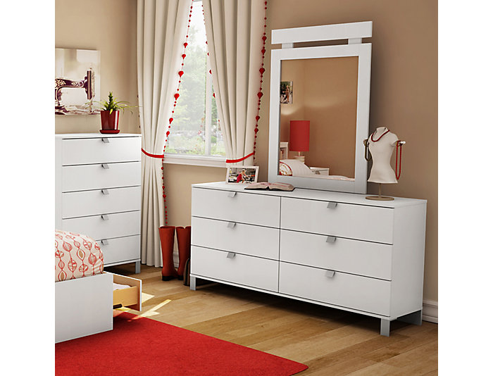 Spark White 6-Drawer Dresser, , large