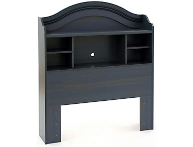 Twin Blue Bookcase Headboard, Blue, large