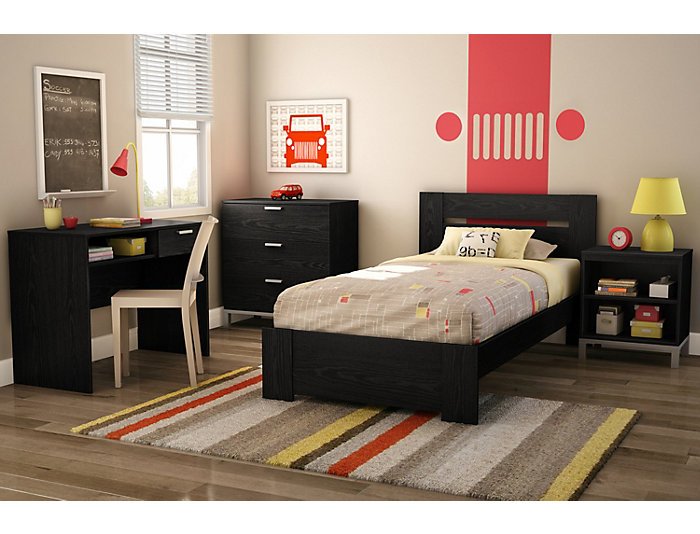 Flexible Black Oak Twin Bed, , large