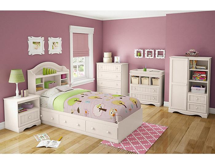 Savannah White Twin Mates Bed, , large