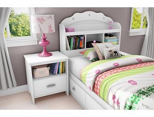 Tiara White Twin Mates Bed, , large
