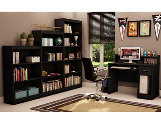 "Axess 56"" Black Bookcase, Black, large"