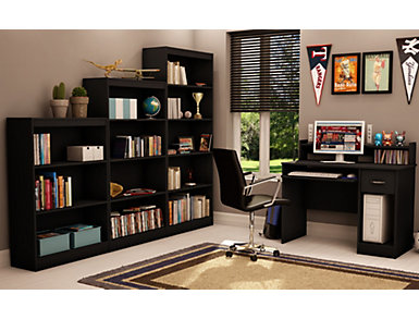 "Axess 56"" Black Bookcase, Black, large"