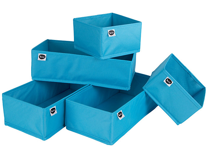 Blue Drawer Bins (Set of 5), , large