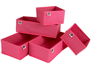 Pink Drawer Bins (Set of 5), , large
