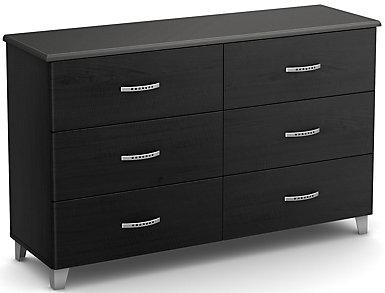 Lazer Black 6-Drawer Dresser, , large