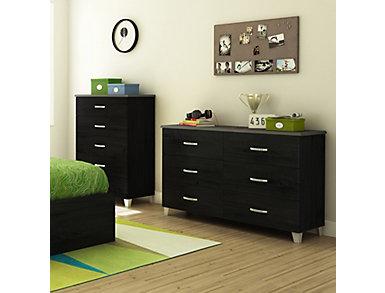 Lazer Black 6 Drawer Dresser, , large