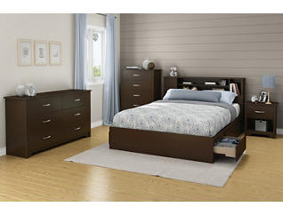 Queen Brown Bookcase Headboard, , large