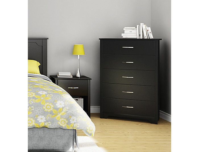 Fusion Black 5-Drawer Chest, , large