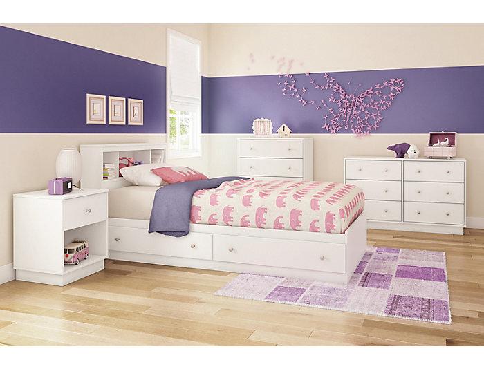 Litchi White 6-Drawer Dresser, , large