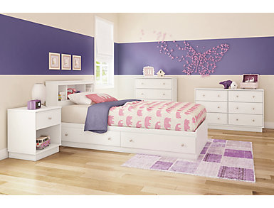 Litchi White Twin Mates Bed, , large