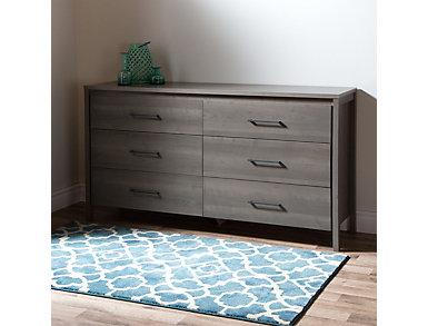 Gravity Gray 6-Drawer Dresser, , large