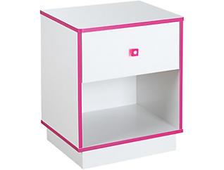 Logik White & Pink Nightstand, , large