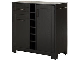 Vietti Black Oak Bar Cabinet, Black, large