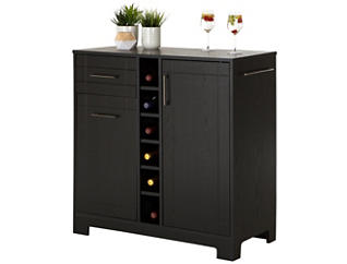 Vietti Black Oak Bar Cabinet, Black, large