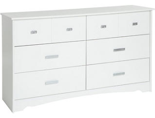 Tiara White 6-Drawer Dresser, , large