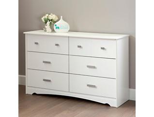 Tiara White 6 Drawer Dresser, , large