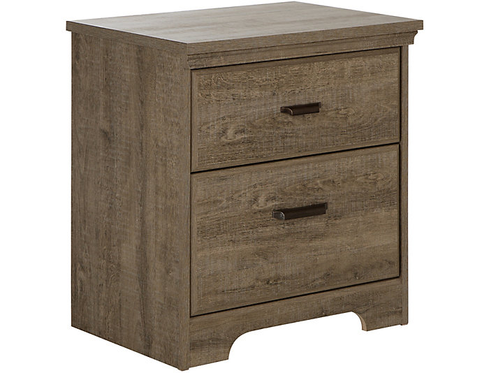 Versa Oak 2-Drawer Nightstand, , large