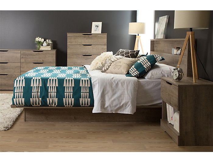 Holland Queen Oak Platform Bed, , large
