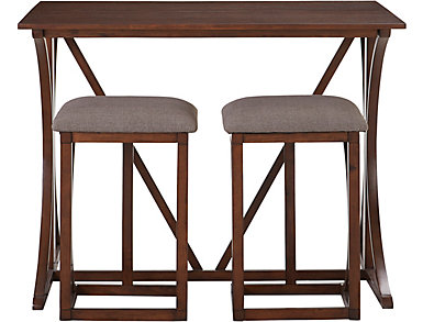 Folding Bar Table & 2 Stools, Burgundy, large