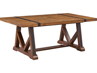 Nelson Rustic Pine Trestle Dining Table, , large