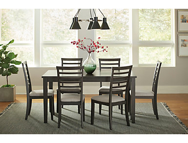 Baggio Charcoal 7 Piece Dining Set, , large