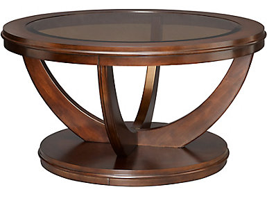 La Jolla Latte Brown Round Coffee Table, , large