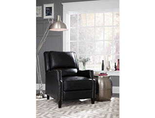 Alston Black Press Back Recliner, Black, large