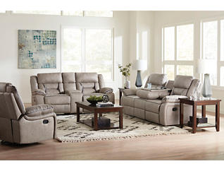 Hera Ash  Manual Reclining Glider Console Loveseat, Grey, large