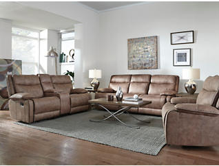 Cole Mocha Manual Reclining Sofa with Drop-Down Table, , large