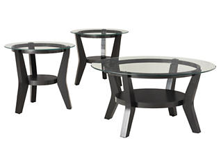 Orbit 3 Pack Occasional Tables, Black, , large