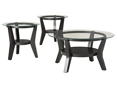 Orbit Black 3 Pack Occasional Tables, , large