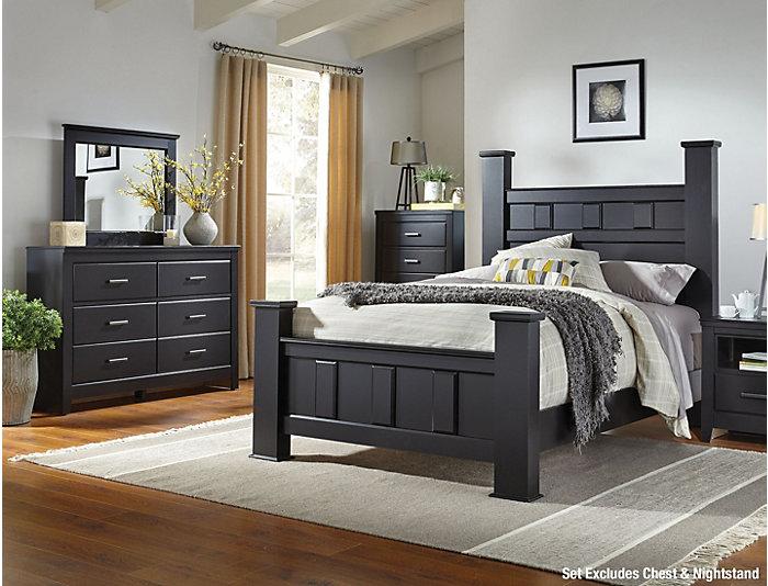 Haywood 5 Piece King Poster Bedroom Set, Black | Outlet at Art Van