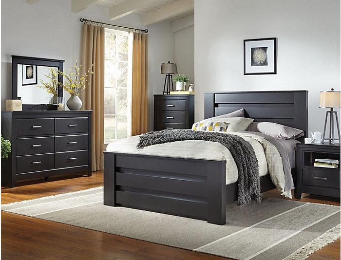 Haywood 7 Piece Queen Bedroom Set, Black | Outlet at Art Van
