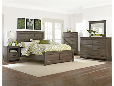 Haywood 4 Piece Full Bedroom Set, Weather Brown, , large