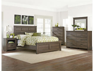 Haywood 6 Piece Full Bedroom Set, Brown, , large