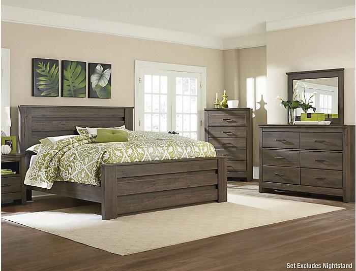 Haywood Weathered Brown King Bedroom Set   Outlet at Art Van
