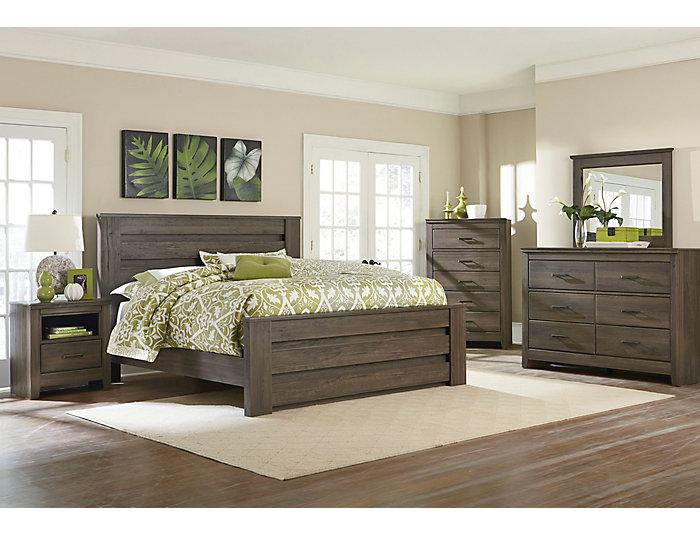 Haywood Weathered Brown 4 Piece Queen Bedroom Set