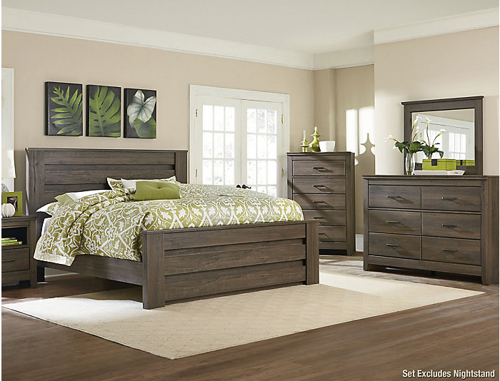 Haywood Weathered Brown 4 Piece Queen Bedroom Set
